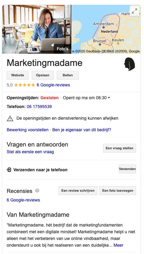 Google Business profiel Marketingmadame